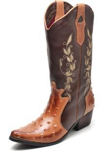 Bota Country Bico Fino Top Franca Shoes Avestruz Mel / Cafe