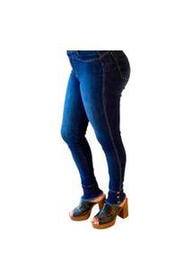 Calça Jeans Feminina Cós Alto Desfiada Na Barra