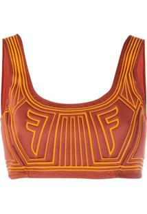 Fendi Blusa Cropped Com Logo - Laranja