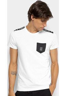 Camiseta Rg 518 Meia Malha Bolso Masculina - Masculino-Branco