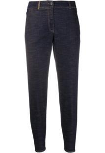 Peserico Calça Jeans Slim Cintura Alta - Azul