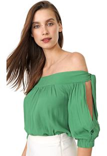 Blusa Maria Filã³ Ombro A Ombro Laã§O Verde - Verde - Feminino - Viscose - Dafiti