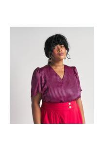 Blusa Com Mangas Bufantes E Estampa Xadrez Pied-De-Poule Curve & Plus Size | Ashua Curve E Plus Size | Rosa | G