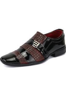 Sapato Social Verniz Texturizado Sapatofran Preto/Vermelho