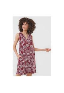 Vestido Gap Curto Floral Vinho