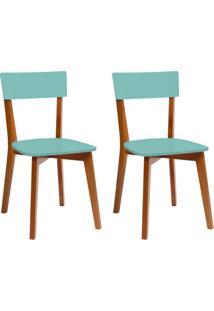 Conjunto Com 2 Cadeiras Tóquio Mel E Turquesa