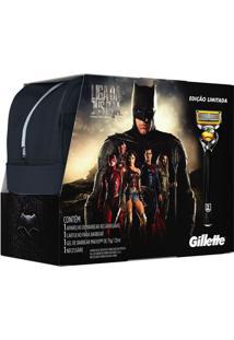 Kit Gillette Liga Da Justiça Aparelho De Barbear Proshield + Mini Gel 70G + Necéssaire Exclusiva