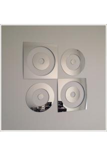 Espelho Decorativo Quadrados E Circulos 66 X 66 Cm Quarto Sala