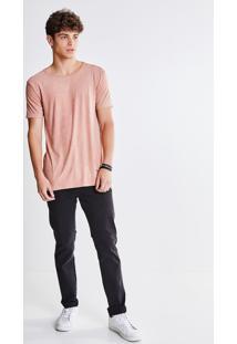 Camiseta Rosa Em Suede