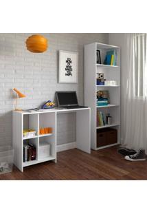 Escritório Completo Com Escrivaninha E Estante Para Livros Focus Ii Siena Móveis Branco