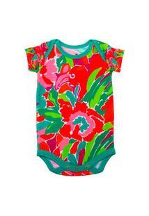 Body Manga Curta Isabb Flamingo Cores Multicolorido
