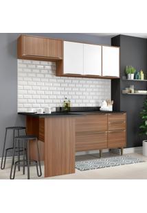 Cozinha Compacta 6 Portas Com Tampo E Pés 5460 Nogueira/Branco - Multimóveis