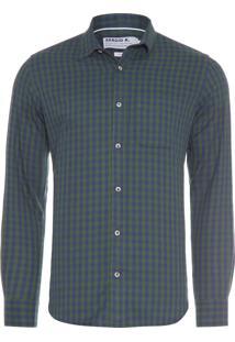 Camisa Masculina Vichy Flanela - Verde