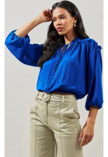 Blusa Mx Fashion De Chiffon Com Babados Gabriela Azul