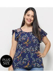 Blusa Heli Bata Floral Plus Size Feminina - Feminino-Azul