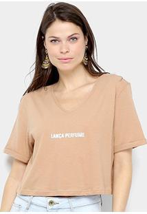 Camiseta Cropped Lança Perfume Logo Gola V Feminina - Feminino-Marrom