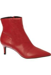 Ankle Boot Em Couro Vermelho Com Salto Médio Fino