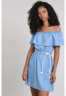 Vestido Jeans Feminino Ombro A Ombro Com Babado E Cinto Azul Claro