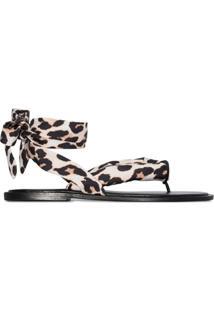 Ganni Sandália Com Estampa De Leopardo - Marrom