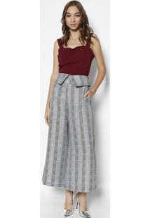 Blusa Cropped Com Pespontos - Vinho - Milioremiliore