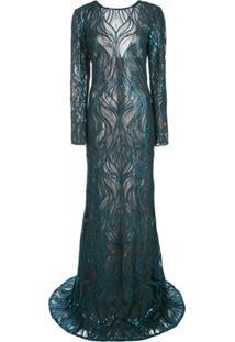 Tadashi Shoji Vestido De Festa Com Renda E Paetês - Azul