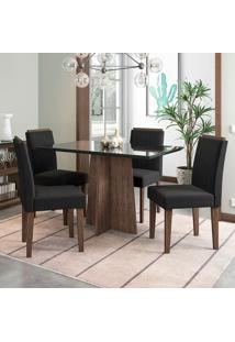 Conjunto De Mesa De Jantar Com 4 Cadeiras Estofada Ana Veludo Preto