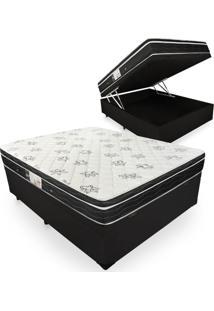 Cama Box Com Baú Casal + Colchão De Molas - Ortobom - Physical Nanolastic - 138X188X65Cm Preto