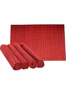 Jogo Americano Bamboo 4 Peças Vermelho Ref-34145