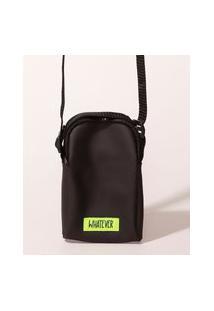 Bolsa Masculina Shoulder Bag Emborrachada Com Zíper Preta