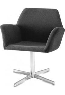 Poltrona Miro Assento Estofado Rustico Preto Base Fixa Em Aluminio - 55870 - Sun House