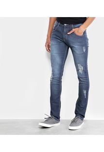 Calça Jeans Skinny Biotipo Escura Elastano Puídos Masculina - Masculino-Azul Escuro