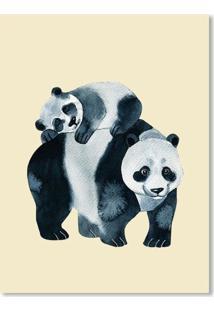 Quadro Panda E Filhote M Creme - Incolor - Dafiti