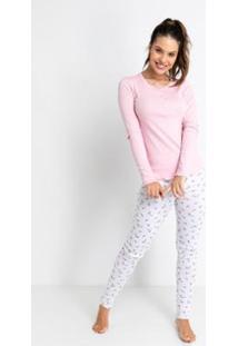 Pijama Longo Ribana De Algodão Love Liberty Acuo Feminino - Feminino-Branco