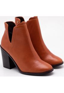Ankle Boot Couro Ferrugem