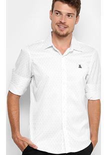 Camisa Broken Rules Mini Print Acetinada Masculina - Masculino-Branco