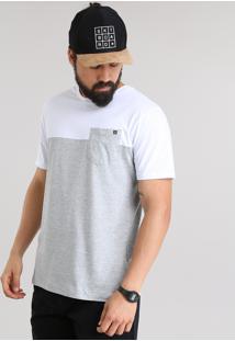 Camiseta Com Recorte E Bolso Cinza Mescla