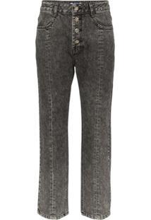 Sjyp Washed Denim Cropped Jeans - Preto