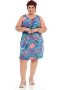 Roupas Plus Size Domenica Solazzo Vestidos Curtos Azul - Kanui