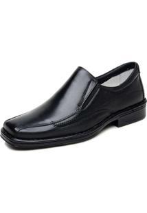 Sapato Cla Cle Confortável Bico Quadrado Couro Preto