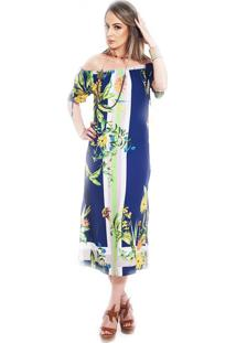 Vestido Ocna Brasil Ombro Reto Gérberas Azul