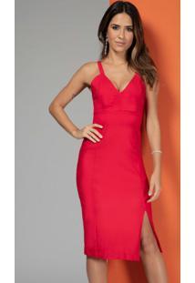 Vestido Estruturado Com Recortes Vermelho
