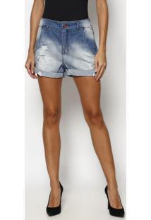 Bermuda Jeans Com Bolsos- Azul Escuro- Tuaregtuareg