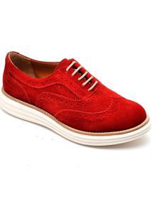 Sapato Oxford Mocassim Despojado Casual Vermelho - Tricae