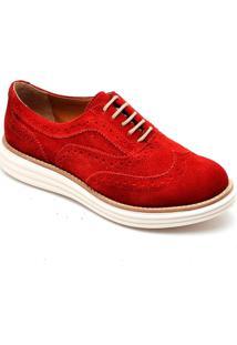 Sapato Oxford Mocassim Despojado Casual Vermelho