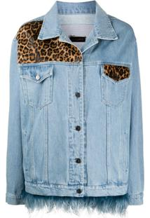 Simonetta Ravizza Jaqueta Jeans Com Animal Print - Azul