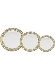 Baixela 18 Pratos De Porcelana Super White Charme, Lyor, 9005, Branco E Dourado, Único
