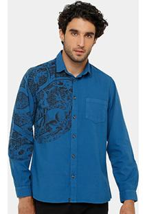 Camisa Triton Bolso Estampada Masculina - Masculino