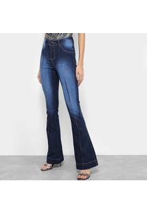 7aba0e886 ... Calça Jeans Flare Coffee Estonada Cintura Alta Feminina - Feminino-Azul