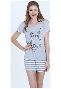 Pijama Feminino Estampa Gato Short Doll Marisa
