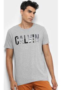 Camiseta Calvin Klein Mc Est Bandeira Masculina - Masculino